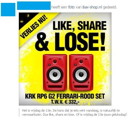 Like share and lose Facebookactie
