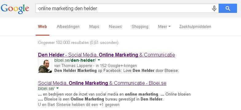 Internet marketing Den Helder gepersonaliseerde zoekresultaten