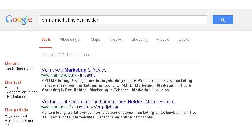 Internet marketing Den Helder niet gepersonaliseerde zoekresultaten