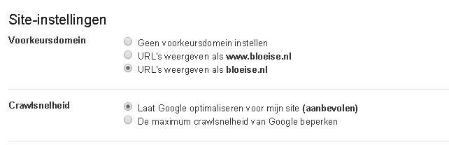 Google Webmaster Tools Site Instellingen
