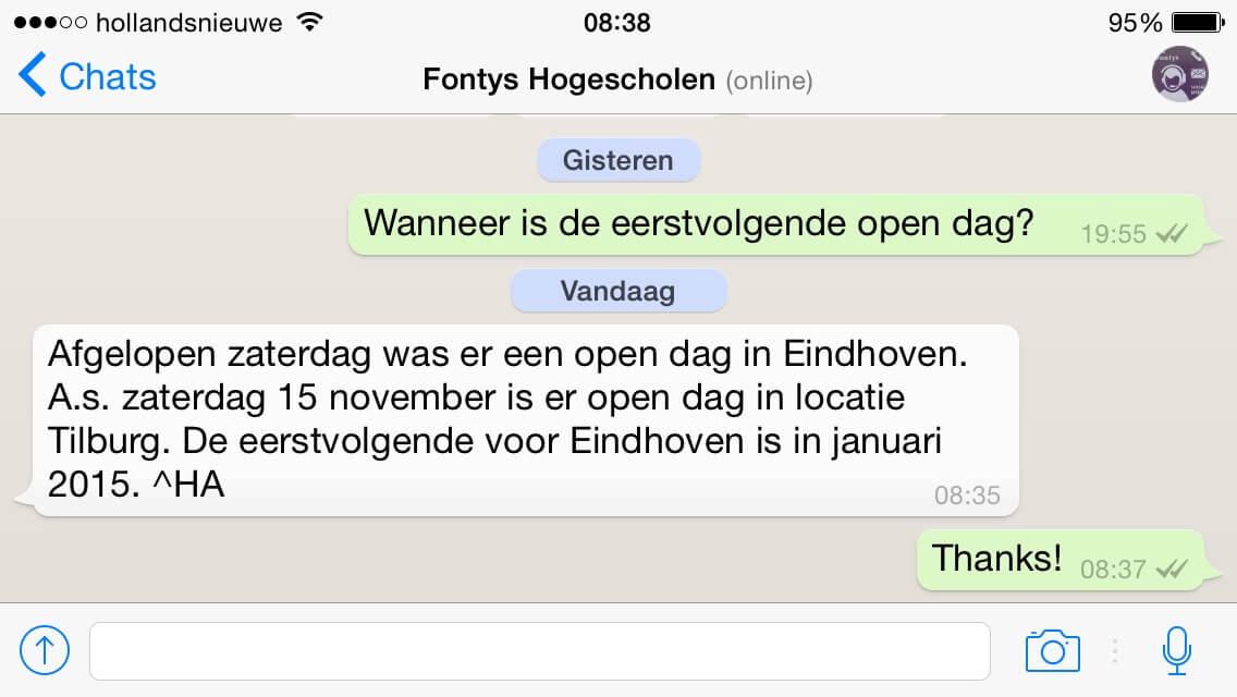 whatsapp ingezet door Fontys Hogescholen