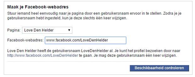 Facebook URL instellen