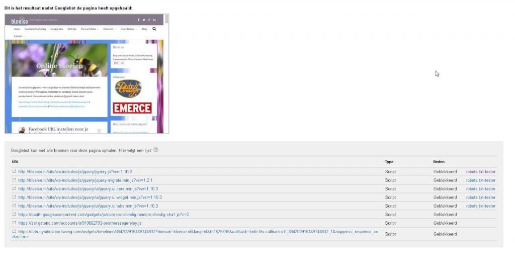 Robots.txt blokkeert Javascript en CSS