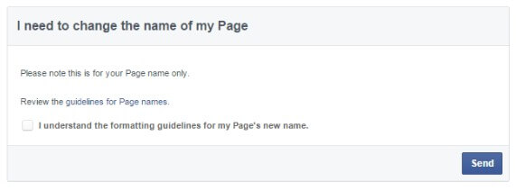 I need to change the name of my Facebookpage1