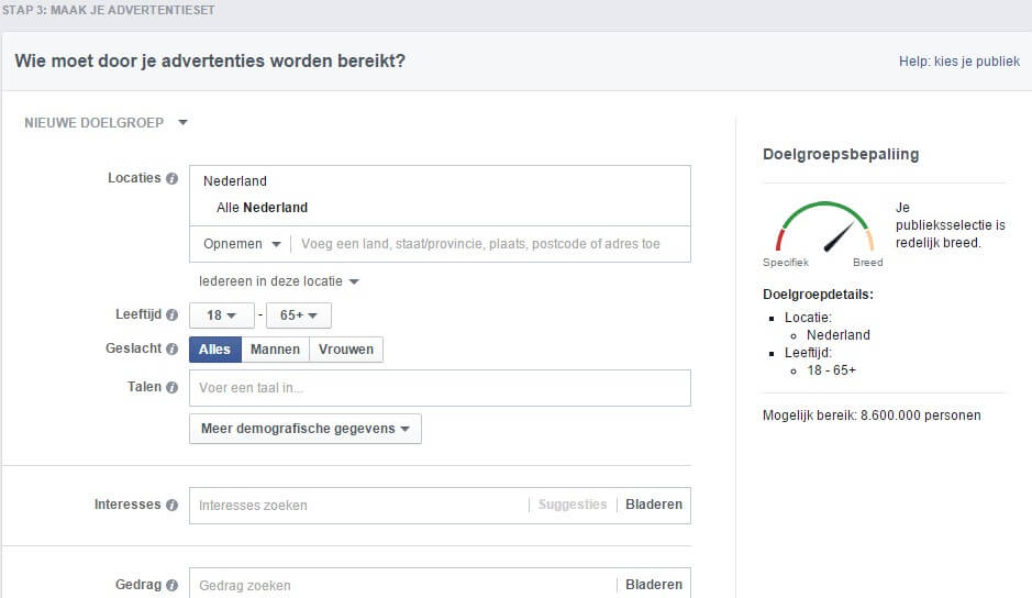 Determine ad set for your Facebook audience