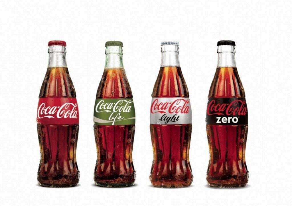 Coca Cola four brands original life light zero