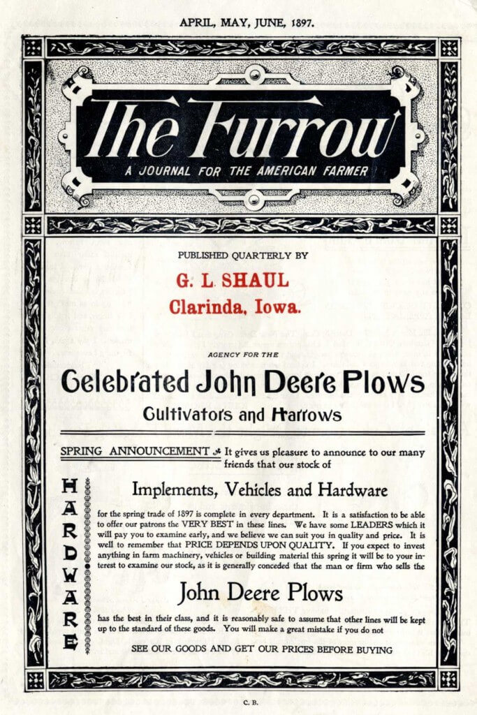 Content Marketing by John Deer The Furrow Front Page of 1897