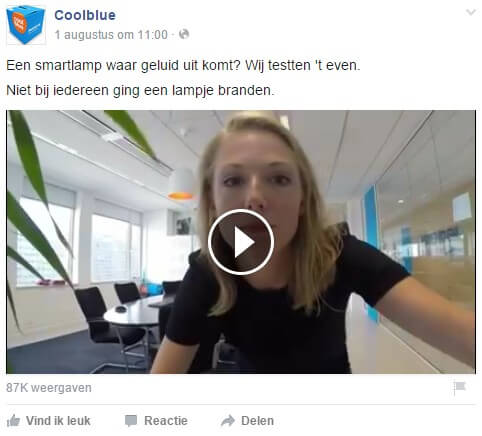 CoolBlue on Facebook Personal approach and showing your face