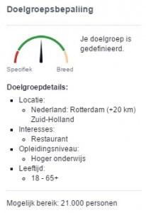 Target group determination Facebook ads example restaurant in Rotterdam