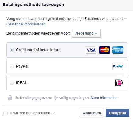Facebook advertising add payment method iDEAL credit card PayPal and Facebook voucher