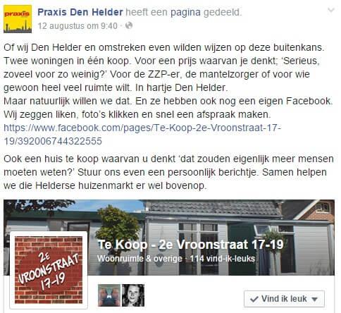 Facebook post example by Praxis Den Helder