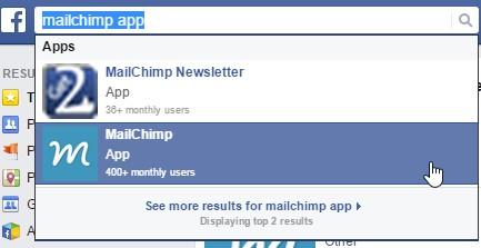 Mailchimp app Facebook