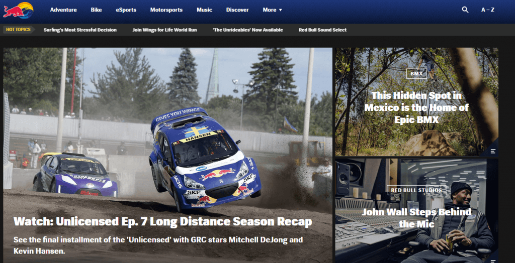 Red Bull frontpage redbull com