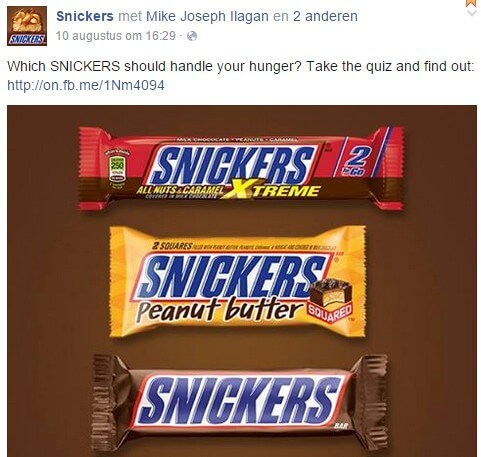 Snickers on Facebook example on post using energy