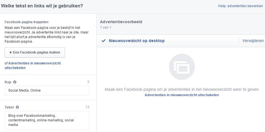 Determine text and links of your Facebook ad Facebook