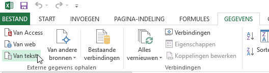 Excel import data from text