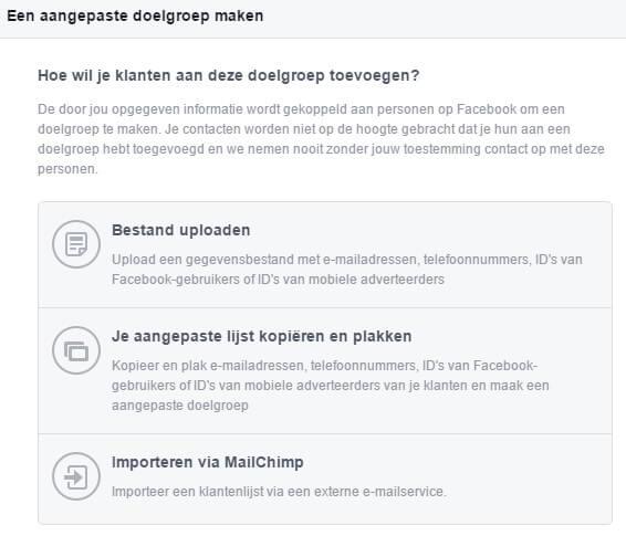 Facebook Ads Create Custom Audience Based on Customer List Options