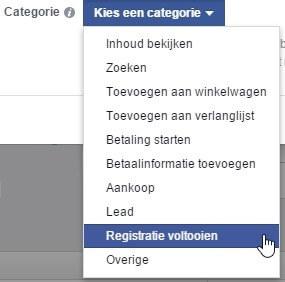 Facebook Ads Pixel Conversion Set Category