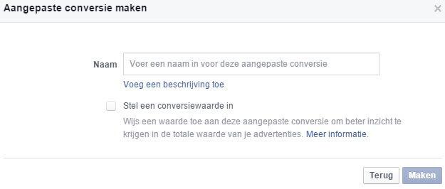 Facebook Ads Pixel Conversion Name Description and Value