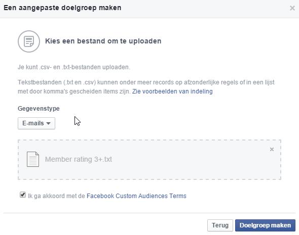 Create Facebook Ads Custom Audience and Upload File