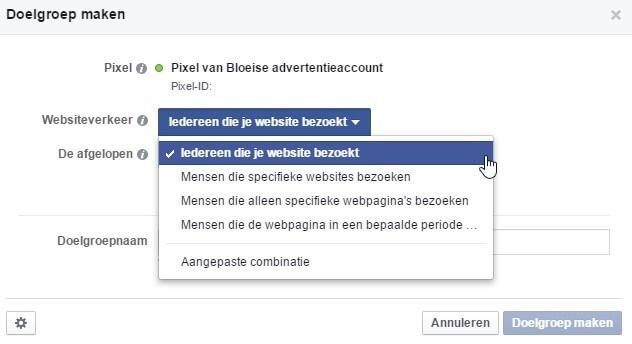 Create Facebook Ads target group based on Pixel code