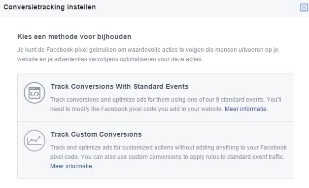 Facebook Ads options Create pixel conversion