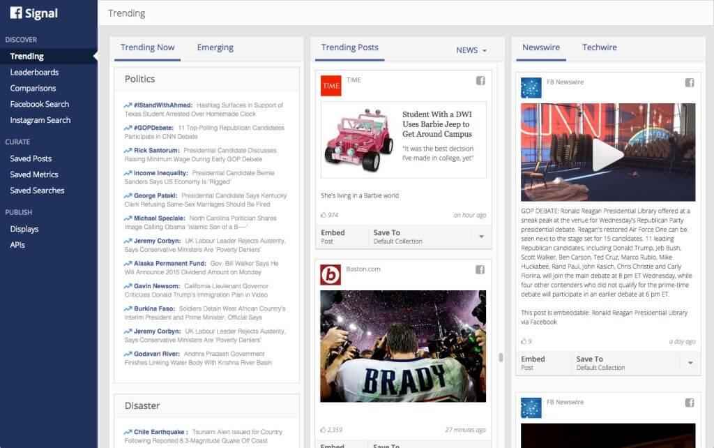 Facebook trends Signals