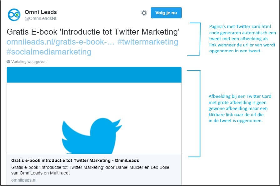 Twitter Card with large image as link