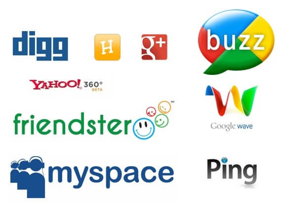 Dead Social Media that dont exist anymore Digg Buzz G+ Friendster Myspace Ping Google Wave