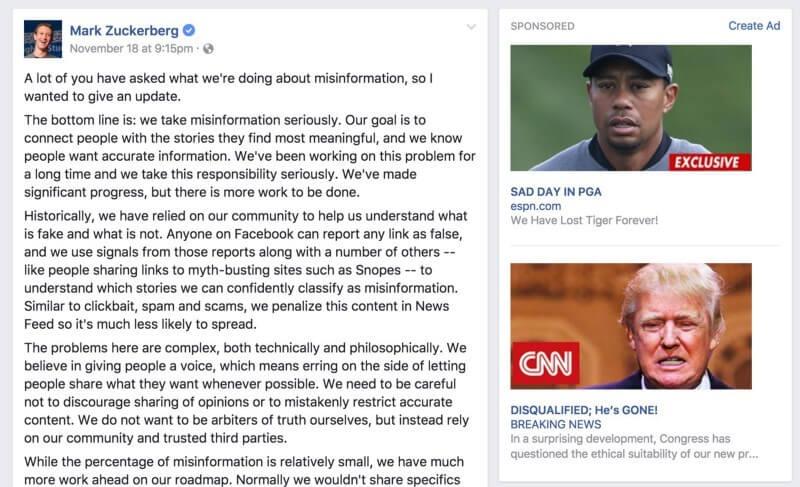 Mark Zuckerberg message on fakenews shows fakenews ads