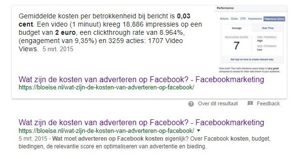Featured snippet in Google voorbeeld door Bloeise - kosten van adverteren in Facebook