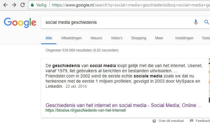 Featured snippet voorbeeld in Google - geschiedenis van social media door Bloeise