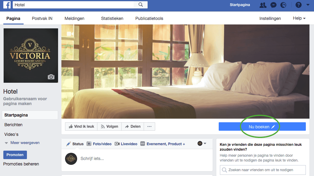 Facebookmarketing voor hotels - voorbeeld Victoria