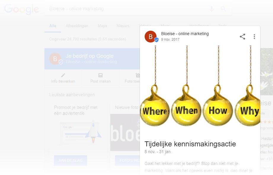 Google Post voorbeeld - Google Mijn Bedrijf