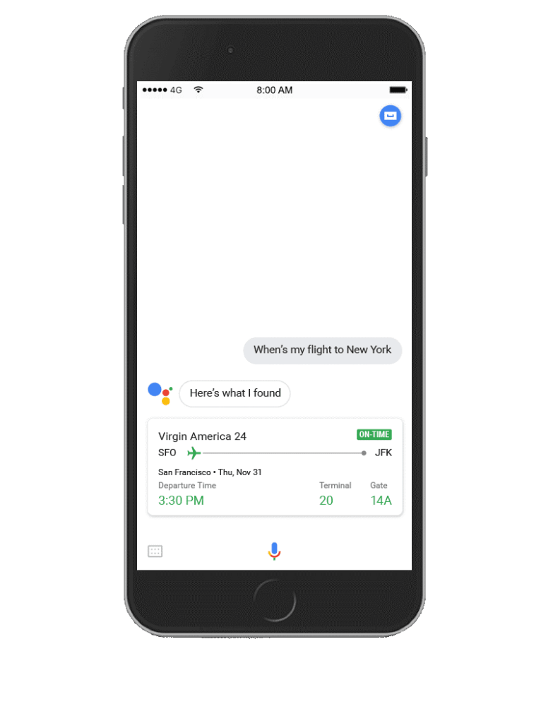 Google Assistant - flight example