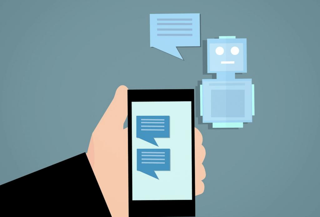 Cartoon: een scherm met een chatbot op de achtergrond