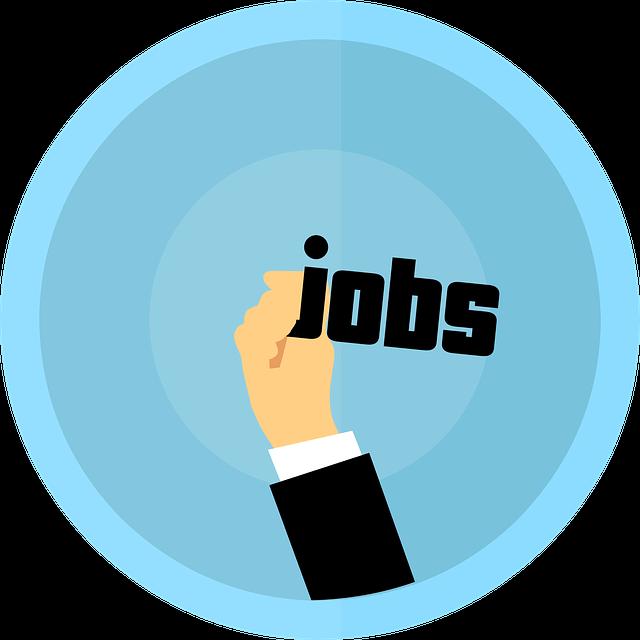 Een hand met het woord 'jobs', met een cirkel op de achtergrond