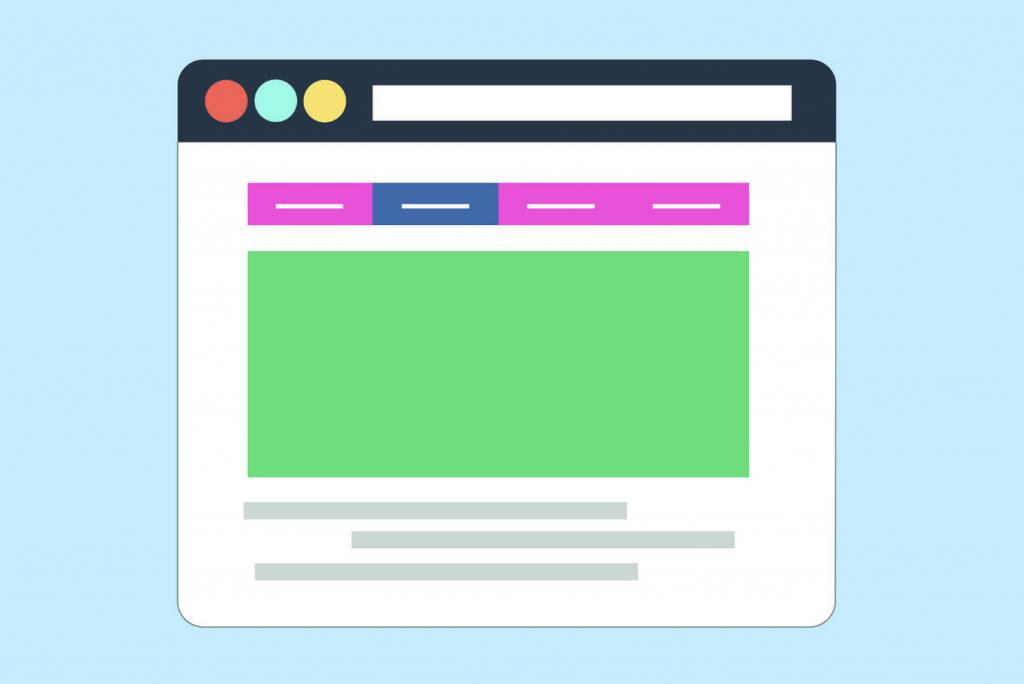 Cartoon van een scherm in een webbrowser