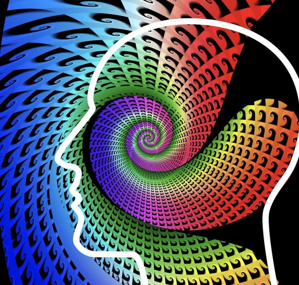 Hoofd met gekleurde spiralen