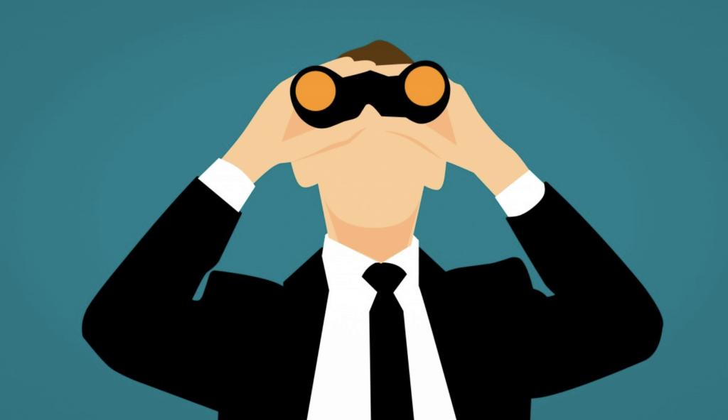 Cartoon: man with binoculars