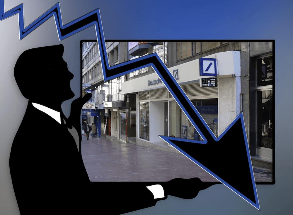 Een silhouet van een man, met een foto van een filiaal, met een dalende trendlijn.