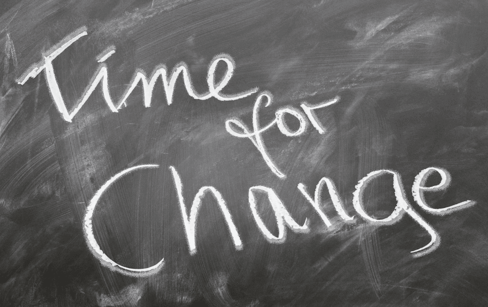 A blackboard that reads: 'Time for Change'