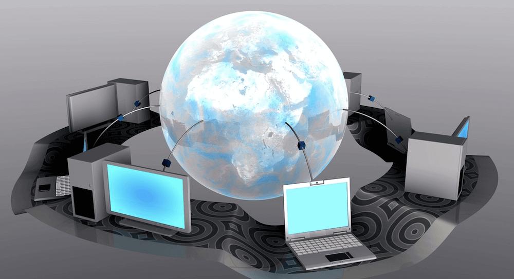 Een wereldbol die verbonden is met computers