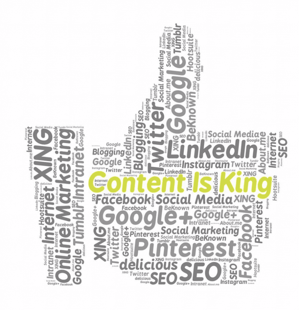 A thumb showing social networks, in which it is written in yellow 'Content is king' .