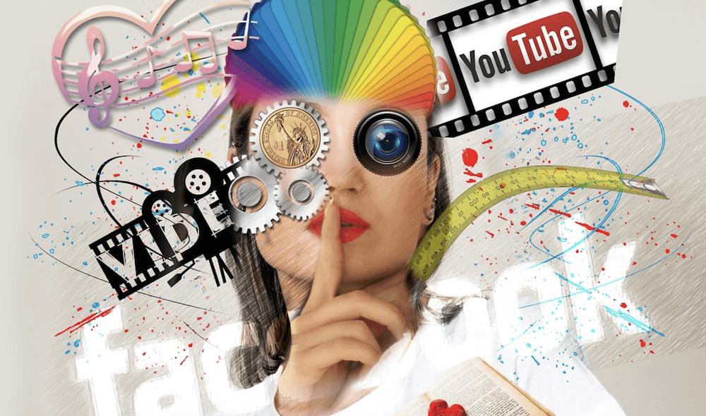 Vrouw met media om haar heen: YouTube, Video, Facebook.