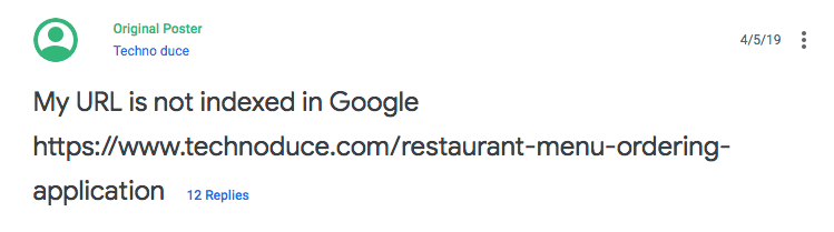 URL not indexed by Google