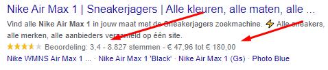 Google voorbeeld Rich Snippets