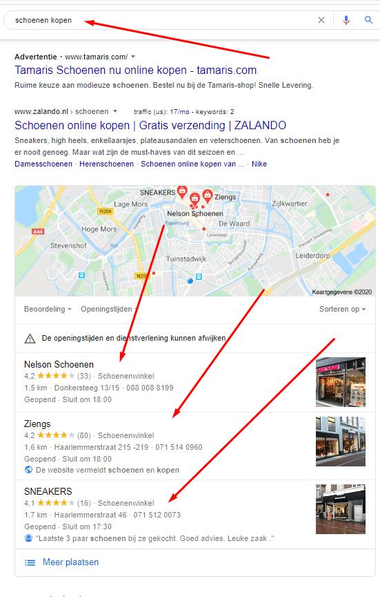 Local Search voorbeeld op Schoenen kopen