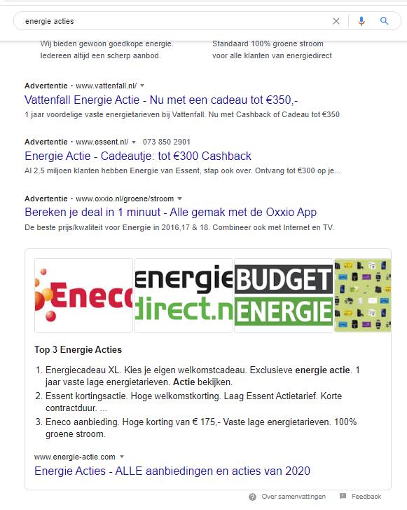 featured snippets voorbeeld Google op Energie acties