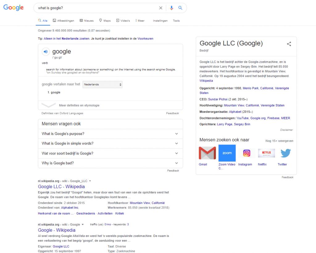 zoekvoorbeeld Google op Google 2020